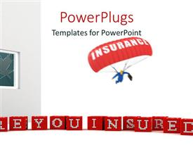 PowerPlugs: PowerPoint template with a person in the air with a parachute and white background