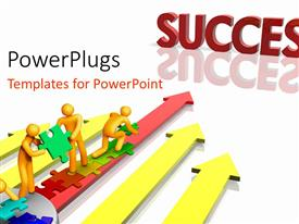 PowerPlugs: PowerPoint template with depiction of team working together towards success over white surface