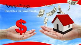 PowerPoint template displaying purchase of housing property with exchange of cash and 3D house