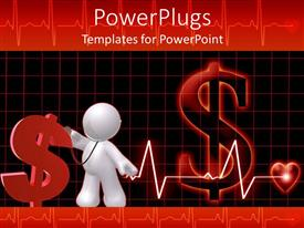 PowerPlugs: PowerPoint template with concept of public healthcare cost represented by red dollar sign with 3D white figure and heart monitoring line leading to heart on dark red and black background
