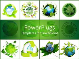PowerPoint template displaying concept of recycling the world on white background