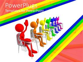 PowerPlugs: PowerPoint template with concept of students seated side by side with left hand raised
