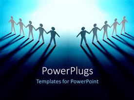 PowerPlugs: PowerPoint template with concept of a team. Two teams stand side by side with their members