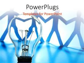 PowerPlugs: PowerPoint template with concept of team work using bulb and humanoids holding hands