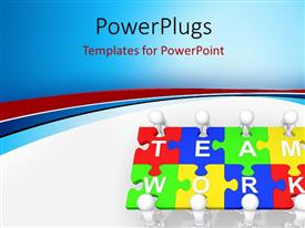 PowerPlugs: PowerPoint template with multi colored puzzles with a text that spell out the words 'team work'