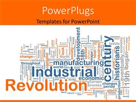 PowerPoint template displaying conceptual background with terms relating to industrial revolution