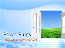PowerPlugs: PowerPoint template with ashinning stairway on the clouds leadin to an open door