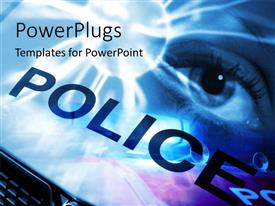 PowerPlugs: PowerPoint template with conceptual depiction of eye abstract overlaid onto police van with light