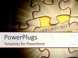 PowerPlugs: PowerPoint template with spotlight on jigsaw puzzle with word opportunity on missing piece