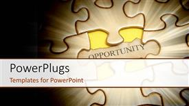 PowerPoint template displaying spotlight on jigsaw puzzle with word opportunity on missing piece