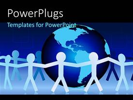 PowerPlugs: PowerPoint template with paper people hold hands around earth globe symbolizing unity