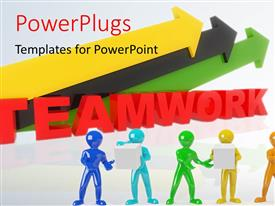 PowerPlugs: PowerPoint template with a number of colorful arrows with greyish background