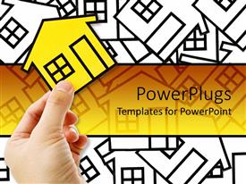 PowerPlugs: PowerPoint template with conceptual design for real estate, little white card board homes with a yellow home on the front in a man hand