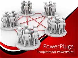 PowerPoint template displaying conceptual design of teamwork to achieve common goal