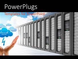 PowerPlugs: PowerPoint template with cloud computing storage depiction with servers and human hand