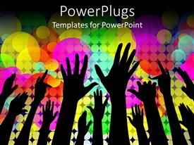 PowerPlugs: PowerPoint template with concert party theme with silhouettes of hands and rainbow color bubble background