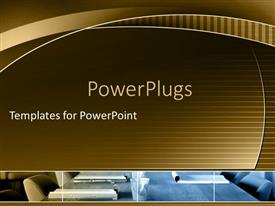 PowerPlugs: PowerPoint template with conference room with table and office chairs and presentation equipment on table