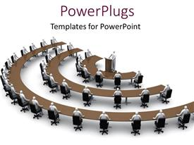 PowerPlugs: PowerPoint template with conference session in semi-circular arrangement with speaker behind pulpit