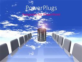 PowerPlugs: PowerPoint template with conference table with empty chairs over blue cloudy sky
