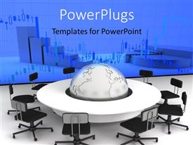 PowerPlugs: PowerPoint template with conference table with globe on center table with charts on board