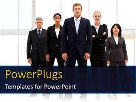 PowerPlugs: PowerPoint template with team of business professionals standing beside office building