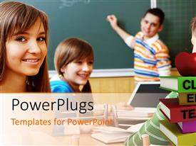 PowerPlugs: PowerPoint template with a classroom with kids having fun
