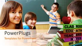 PowerPoint template displaying a classroom with kids having fun