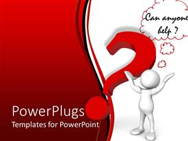 PowerPoint template displaying a confused figure asking for help