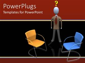 PowerPlugs: PowerPoint template with a confused figure with two chairs in front