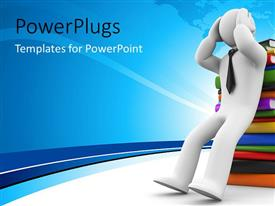PowerPlugs: PowerPoint template with a confused man with so many books and overload of information