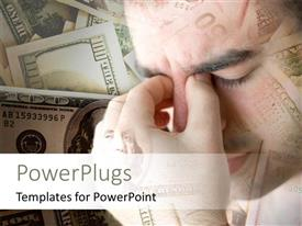 PowerPlugs: PowerPoint template with a confused person with a number of dollars