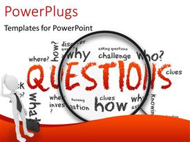 PowerPlugs: PowerPoint template with confused white figure in black tie with briefcase next to magnifying glass over question words