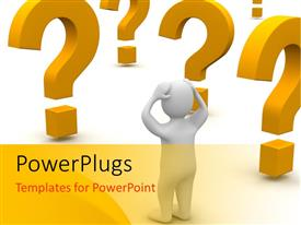 PowerPlugs: PowerPoint template with confused white figure surrounded by orange question marks