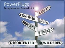 PowerPlugs: PowerPoint template with confusion many directions choosing future road to take directions map unclear unsure