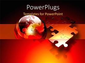 PowerPlugs: PowerPoint template with connected metallic puzzle pieces and 3D globe floating above a red and orange