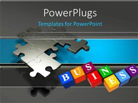 PowerPoint template displaying some connected puzzles beside colourful cubes that have text on them