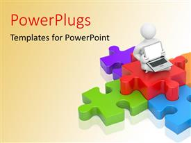 PowerPlugs: PowerPoint template with a person with a laptop and a number of puzzle pieces