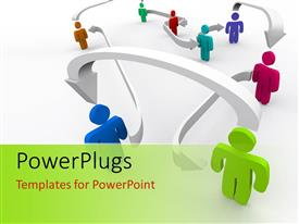 PowerPlugs: PowerPoint template with connectivity concept using several colored humanoids connected by arrows with white color