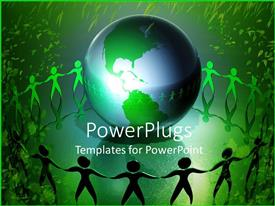PowerPlugs: PowerPoint template with conservation, ecology, green living metaphor with people holding hands around Earth, green leaves