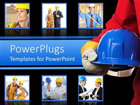 PowerPlugs: PowerPoint template with construction collage with hard hats, architects, tools, blueprints