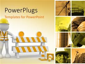 PowerPlugs: PowerPoint template with construction concept with a collage and an engineer with a barrier