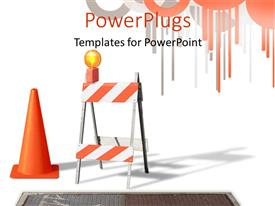 PowerPlugs: PowerPoint template with construction cone and barrier with a yellow light on top