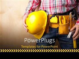 PowerPlugs: PowerPoint template with a construction engineer yellow with helmet and tools and textured wall