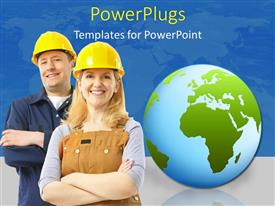 PowerPlugs: PowerPoint template with construction engineers wearing protective helmets with world map in background