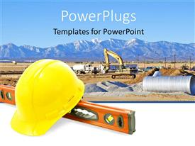 PowerPlugs: PowerPoint template with construction equipment for work yellow construction  hat  level tool