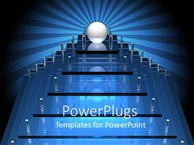 PowerPlugs: PowerPoint template with the construction of a glass ball on a glass podium