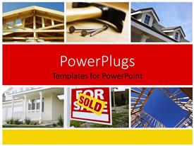 PowerPlugs: PowerPoint template with construction and Real Estate Themed Variety Collage with red color