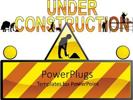 PowerPoint template displaying a construction related theme with white background