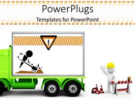 PowerPoint template displaying a construction service on a vehicle