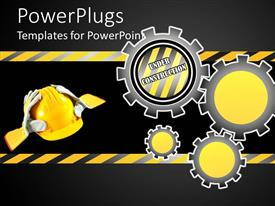 PowerPlugs: PowerPoint template with a construction sign indicating that the site is under construction